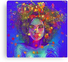 Earth Goddess Abstract art with colorful leaves. Canvas Print