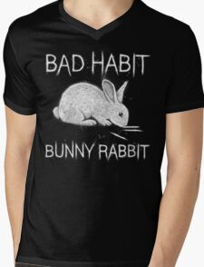 Bad Habit Bunny Rabbit Cocaine Mens V-Neck T-Shirt