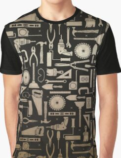Black & Gold Workshop Tools Graphic T-Shirt