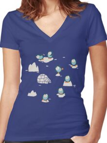 Penguins on ice Women's Fitted V-Neck T-Shirt