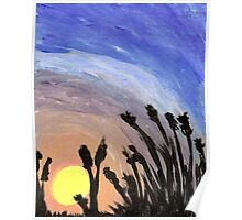 Sunset with Grass Poster