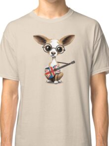 Cute Chihuahua Playing Union Jack British Flag Guitar Classic T-Shirt