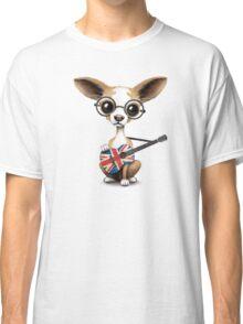 Cute Chihuahua Playing Union Jack British Flag Guitar Classic T-Shirt