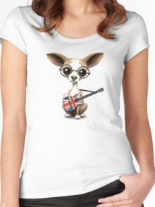 Cute Chihuahua Playing Union Jack British Flag Guitar Women's Fitted Scoop T-Shirt