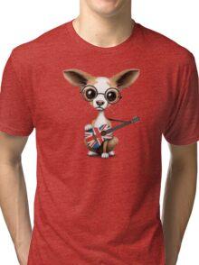 Cute Chihuahua Playing Union Jack British Flag Guitar Tri-blend T-Shirt