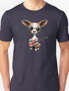 Cute Chihuahua Playing Union Jack British Flag Guitar Unisex T-Shirt