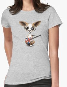 Cute Chihuahua Playing Union Jack British Flag Guitar Womens Fitted T-Shirt
