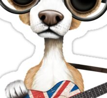 Cute Chihuahua Playing Union Jack British Flag Guitar Sticker