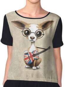 Cute Chihuahua Playing Union Jack British Flag Guitar Chiffon Top
