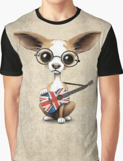 Cute Chihuahua Playing Union Jack British Flag Guitar Graphic T-Shirt