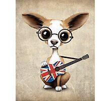 Cute Chihuahua Playing Union Jack British Flag Guitar Photographic Print