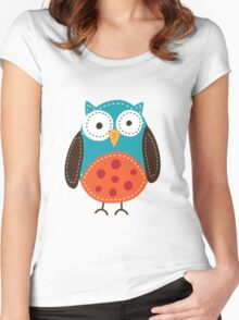 Cute owl graphic Women's Fitted Scoop T-Shirt