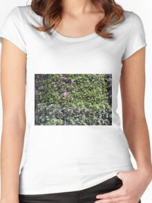 Green wall with pink flowers. Women's Fitted Scoop T-Shirt