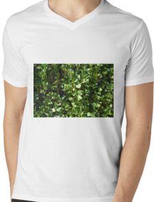 Green leaves pattern. Mens V-Neck T-Shirt