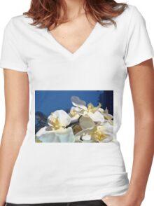 White plastic flowers. Women's Fitted V-Neck T-Shirt