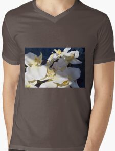 White plastic flowers. Mens V-Neck T-Shirt
