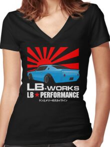 LB WORK : LB PERFROMANCE Women's Fitted V-Neck T-Shirt