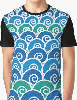 Blue Beach Waves Graphic T-Shirt