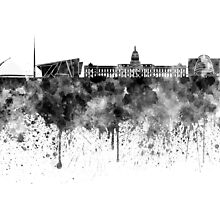 Dublin skyline in black watercolor by paulrommer