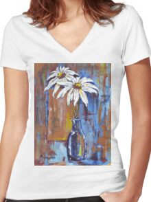 Two Daisies Women's Fitted V-Neck T-Shirt