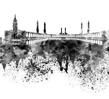 Mecca skyline in black watercolor by paulrommer