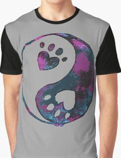 Blue Yin-Yang Paw Watercolor Graphic T-Shirt