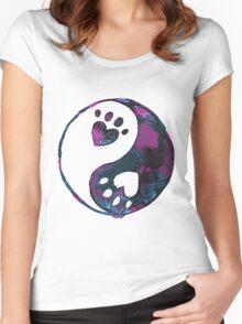 Blue Yin-Yang Paw Watercolor Women's Fitted Scoop T-Shirt