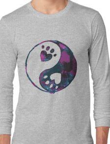 Blue Yin-Yang Paw Watercolor Long Sleeve T-Shirt