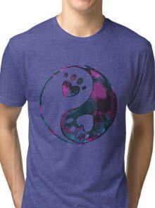Blue Yin-Yang Paw Watercolor Tri-blend T-Shirt