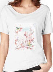 Flowers birds background Women's Relaxed Fit T-Shirt