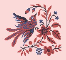 Cross-stitch folklore Charm bird on twig of flower Kids Tee