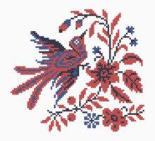 Cross-stitch folklore Charm bird on twig of flower Baby Tee