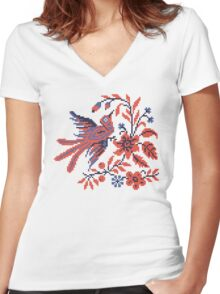 Cross-stitch folklore Charm bird on twig of flower Women's Fitted V-Neck T-Shirt