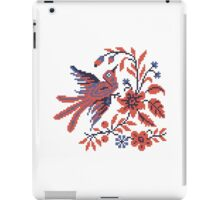 Cross-stitch folklore Charm bird on twig of flower iPad Case/Skin