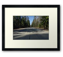 the road fleeing into the distance  Framed Print