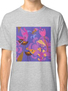 Lovely hand painted flowers birds Classic T-Shirt