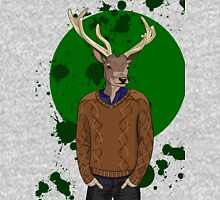 Deer man in brown sweater on green background Unisex T-Shirt