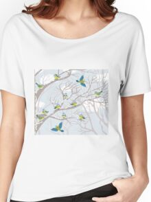 Winter snow tree birds background Women's Relaxed Fit T-Shirt