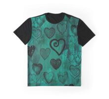 Grunge Turquoise Hearts Graphic T-Shirt