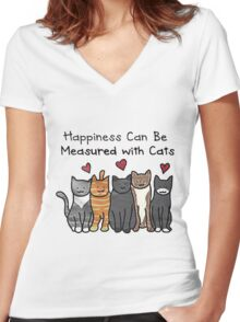 Happiness  Can Be Measured With Cats Women's Fitted V-Neck T-Shirt