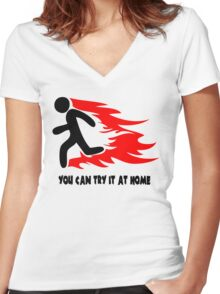 You Can Try It At Home Women's Fitted V-Neck T-Shirt