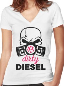 The Dirty Diesel Skull Women's Fitted V-Neck T-Shirt