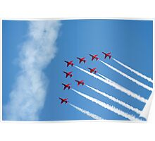 Red Arrows jets flying in formation Poster