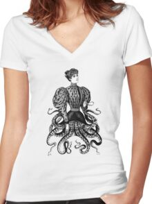 Victorian Squid Woman Women's Fitted V-Neck T-Shirt