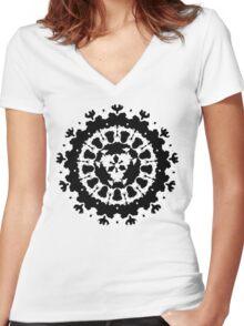 inkblot Black Ink Art Personality Psychology Klecksograph Spots Paint Blotches  Women's Fitted V-Neck T-Shirt