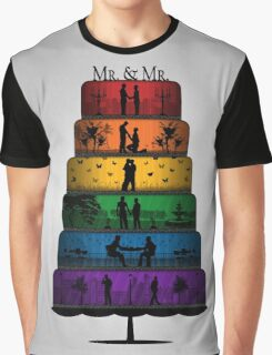 Gay Pride Wedding Cake Graphic T-Shirt