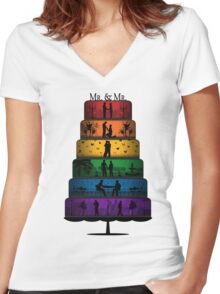 Gay Pride Wedding Cake Women's Fitted V-Neck T-Shirt