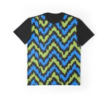Blue and Green Zig Zag Graphic T-Shirt