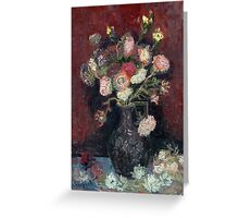 Vincent van Gogh Vase with Chinese Asters and Gladioli Greeting Card