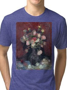 Vincent van Gogh Vase with Chinese Asters and Gladioli Tri-blend T-Shirt